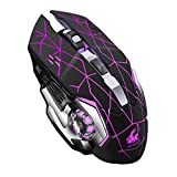 MeterMall Rechargeable Wireless Silent LED Backlit Gaming Mouse USB Optical Mouse for PC Black