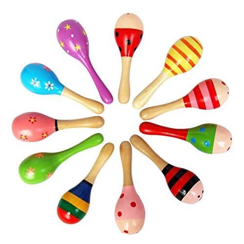 12pz Giocattoli in Legno Maracas sonaglio Shaker, Legno Maraca Rattles Shaker Percussion Bambini Giocattolo Musicale Favore, (Modello Colore Casuale)