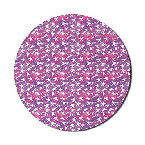 Schutzengel-Mauspad für Computer, Valentinstag-Themenmuster von Engelsbabys mit Pfeilen, rundes rutschfestes dickes Gummi-modernes Gaming-Mousepad, 8 'rundes, rosa Magenta-Violett