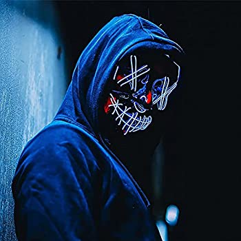 Halloween Scary Masquerade Cosplay Light Up Purge LED Mask