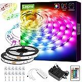 Lepro LED Strip 10M(2x5M), LED Streifen Musik Lichterkette mit Fernbedienung, Band Lichter, RGB Dimmbar Lichtleiste Light, Lichtband Leiste, Bunt Kette für Party Weihnachten Deko