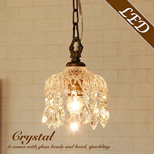 シャンデリア プチシャンデリア ミニシャンデリア Crystal Bell ブロンズ ガラス シェード ビーズ 1灯 アンティーク風 LED対応