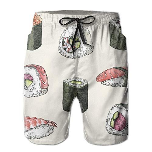 EU Regalo Estivo - Costume da Bagno da Spiaggia per Uomo Shorts da Surf con Tasche California Roll Sushi Giapponese M