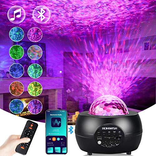 LED Sternenhimmel Projektor, Romwish Projektionslampe Nachtlicht Musik Player mit Bluetooth & Timer & Fernbedienung für Kinder Erwachsene Party Geburtstag Schlafzimmer Home Decoration - Schwarz