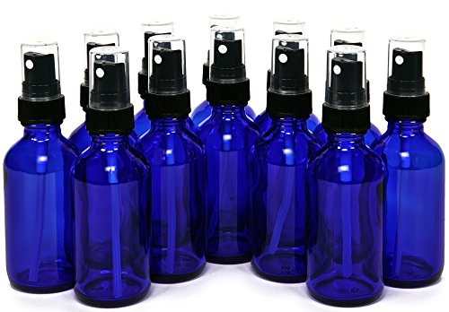 Vivaplex 2 oz Glass Bottles, with Black Fine Mist Sprayers, Cobalt Blue, 12-Count