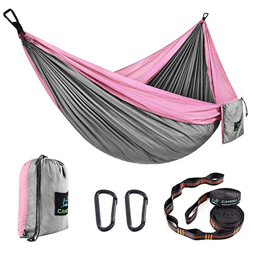 CAMDEA Double Camping Hammock with Tree Straps, Camp Lightweight Portable Hammock 2 Person, Hammock Tent Swing for Sleeping, Backpacking, Travel, Outdoor, Beach, Hiking, Sport Pink