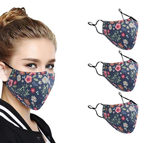 3 Pack NEWMARK 3-ply Reusable Cloth Face Mask Unisex Face Covering with Filter Pocket, Dustproof Cotton Mask Washable Safety Mask - Made in USA (Blue Floral)