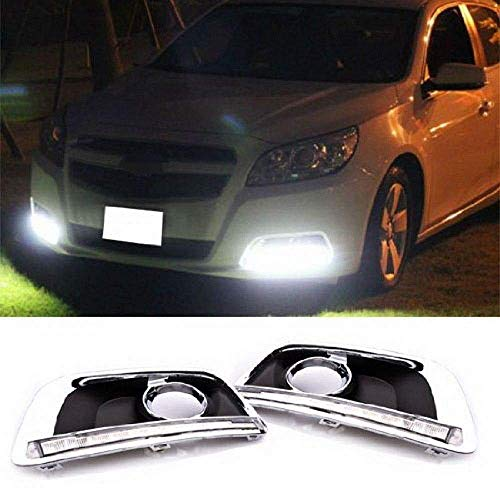 iJDMTOY Switchback LED Daytime Running Light Kit Compatible With 2013-2015 Chevrolet Malibu, White/Amber DRL Bezel Assy w/Module Box, Powered by 22 Pieces LED Lights