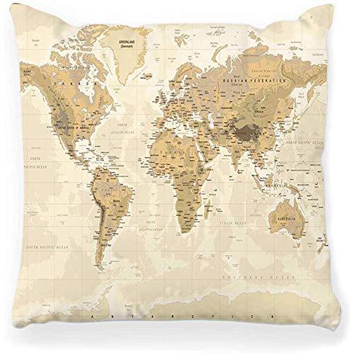 SSHELEY Kussensloop Fysieke Wereld Kaart Azië Oost Europa Stad Zuid Midden Amerika Afrika Land Topografie Bruin