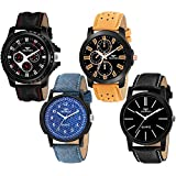 BEARDO Analogue Men's & Boy's Watch (Multicolored Dial Assorted Colored Strap) (Pack of 4)