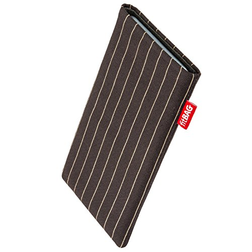 fitBAG Twist Dunkelbraun Handytasche Tasche aus Nadelstreifen-Stoff mit Microfaserinnenfutter für Kodak Ektra | Hülle mit Reinigungsfunktion | Made in Germany