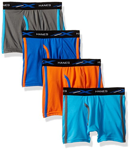 Hanes Boys' X-Temp Breathable Mesh Boxer Brief 4-Pack, Assorted, Large