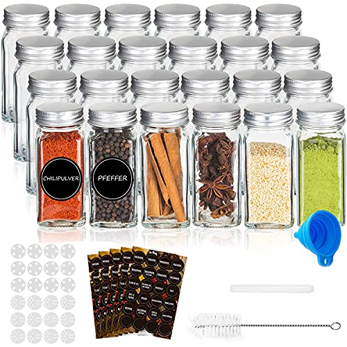 RUBY-Set de Botes Cocina Almacenaje Vidrio,24pcs Tarros de Cristal con Tapa Especias,120ml Botes de Cristal con Tapa,Organizador Especias,Botes Especias Cuadrado,Etiqueta y Embudo