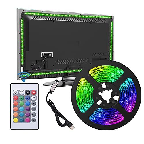 USB LED Strip Lights TV Backlight Strip Kit 2M/6.55FT Suitable for 40-60 inch TV DIY Interior Decoration 24-Key Remote Control