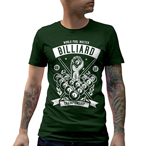 B499MCNTFG Herren T-Shirt Billiard Championship Sport Snooker Pool Master World Cue 8 Ball Table Classic Vintage(Small,Forest Green)