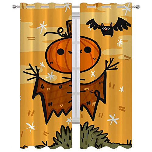 SSKJTC Panel de cortina con ojales para Halloween, diseño de calabaza, espantapájaros con caricaturas y ojales, 160 x 183 cm