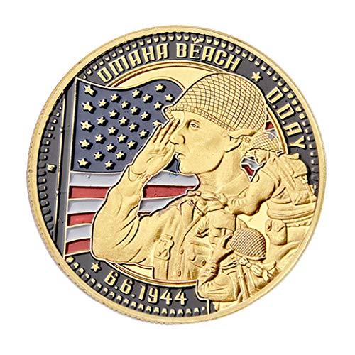S-TROUBLE Recuerdo de la Segunda Guerra Mundial de la Segunda Guerra Mundial, desembarco de Normandía, Moneda de Playa Omaha, Monedas conmemorativas chapadas en Oro, decoración del hogar