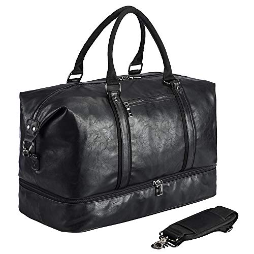 Leather Travel Bag with Shoe Pouch,Weekender Overnight Bag Waterproof Leather Large Carry On Bag Travel Tote Duffel Bag for Men or Women