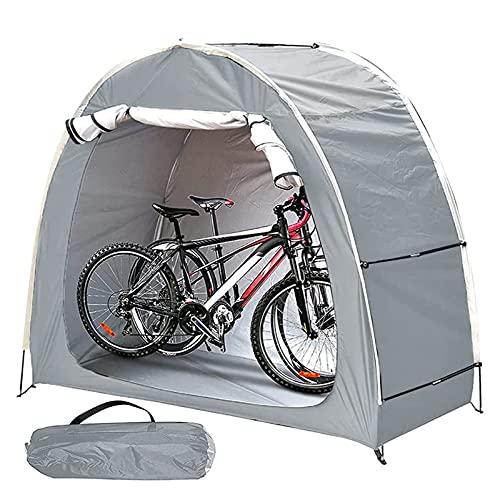 Carpa con dosel para bicicletas Cobertizo para almacenamiento de bicicletas con diseño de ventana Impermeable al aire libre A prueba de polvo para almacenamiento Pesca Control de insectos (Silver)