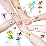 Oblique Unique Elfen Engelchen Ballerina Fee Sticker Tattoos mit Glitzereffekt - Bezaubernde farbenfrohe Figuren ALS temporäre Tattoos