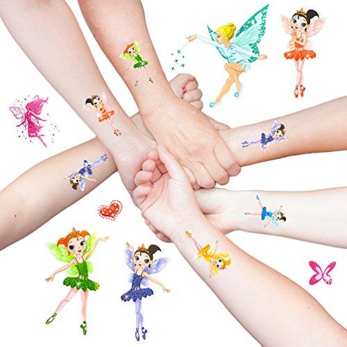 Oblique-Unique® Elfen Engelchen Ballerina Fee Sticker Tattoos mit Glitzereffekt - Bezaubernde farbenfrohe Figuren als temporäre Tattoos