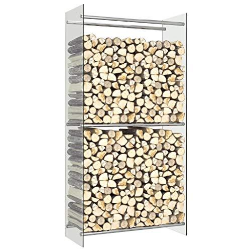 Tidyard Kaminholzregal, Holzscheite Stapelhilfe, aus Stahl, innen und außen, Brennholzregal, dekokamin, 80 x 35 x 160 cm, Transparent