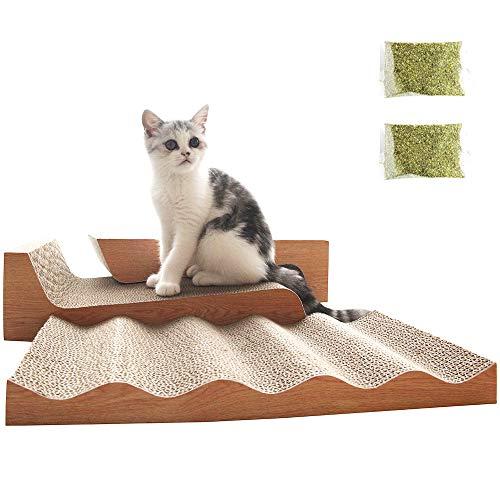 RUMUUKE 3 Packs Cat Scratching Pad Corrugated Scratchers Bed Lounge Outlasts Wave Shaped Cat Scratcher Cardboard Reversible Furniture Protector Catnip Include