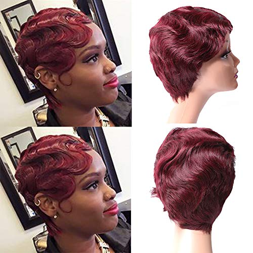 Pobokix Finger Wave Wig Human Hair Pixie Cut Wig Short Curly Virgin Hair Wigs Mommy Wigs Short Classic Wig for Black Women (Short Finger Wave, 99J)