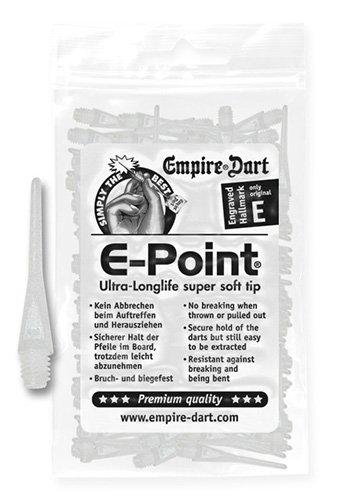 Empire Dart Softdartspitzen, E-Point, 2BA, lang, Weiss, 100 Stück, 20676