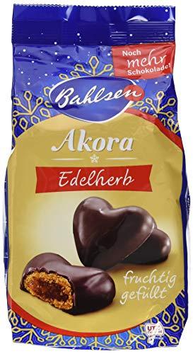 Bahlsen Akora Edelherb – leckere Lebkuchenherzen mit Fruchtfüllung – überzogen mit edelherber Schokolade – unvergleichlicher Genuss in der Weihnachtszeit, 13er Pack (13 x 150 g)