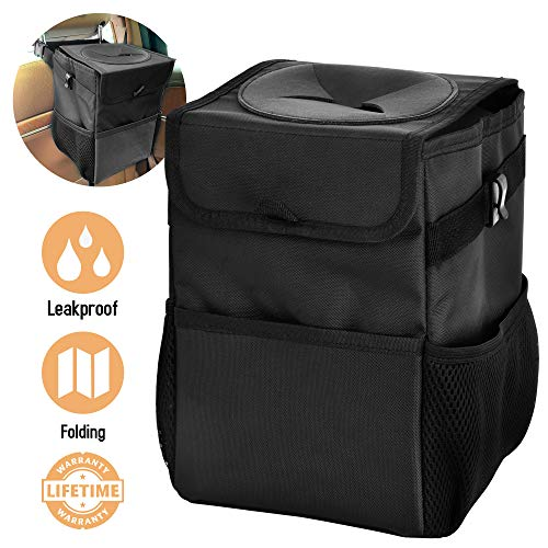 IKENAU Car Trash Can with Lid and Storage Organizer Pocket, Portable Car Accessories Organizer for Women and Men with Vinyl Inside Lining 100% Leakproof
