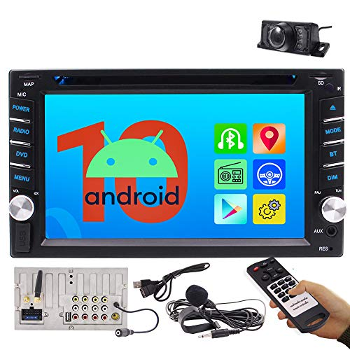 auto radio with dvd cds Car Radio Android 10.0 Car Audio DVD/CD Player 2 Din Head Unit in Dash Double Din Car Stereo 6.2 Inch Multi Touch Screen Bluetooth Support 1080P Video WiFi AM FM Radio Free Backup Camera External MIC