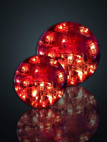 Hellum 568943 LED Deko-Glaskugel in Rissoptik rot/Ø 25 cm / 24 LEDs rot/innen & außen/Zuleitung 5 m transparent/inkl. Außen-Transformator