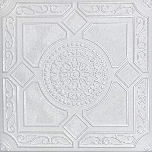White Styrofoam Decorative Ceiling Tile Lima (Package of 8 Tiles) - Other Sellers Call This Kensington Gardense and R30
