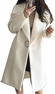 neveraway Women's Warm Single Button Trench Faux Wool Lapel Collar Pea Coat