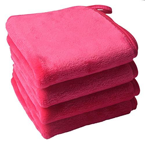 Serviette Visage Demaquillante Lingette Demaquillante Lavable Microfibre Serviette Demaquillante Lavable Make Up Remover Cloth Face Towel 25cm x 25cm 4Pack rose