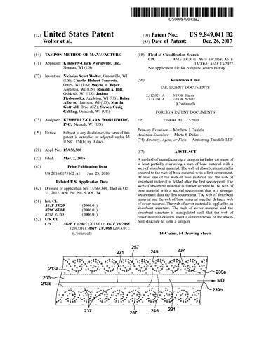 Tampon method of manufacture: United States Patent 9849041 (English Edition)