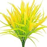 Eight Space 4-pcs Artificial Golden Wheat Grass, Fake Shrubs Plants Plastic Gras Indoor