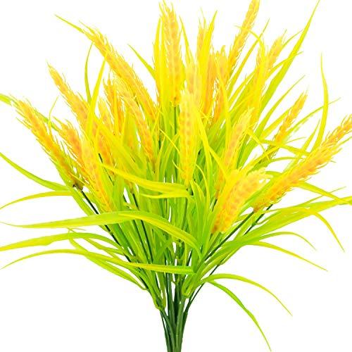 Artificial Golden Wheat Grass Fake Arbustos Faux Plantas Faux Plásticos Arbustos Interior Exterior Oficina en casa Jardín Patio Mesa Centro de Mesa Pot Decoración 4pcs