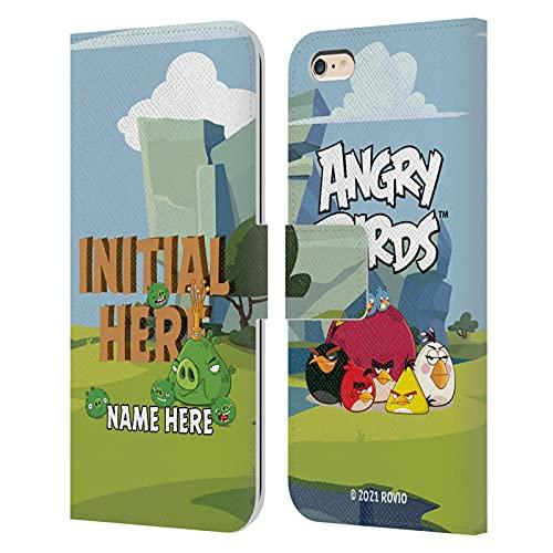 Head Hülle Designs Offiziell Zugelassen Personalisierte Persönliche Angry Bird Holzbrief Kunst Leder Brieftaschen Handyhülle Hülle Huelle kompatibel mit Apple iPhone 6 Plus/iPhone 6s Plus