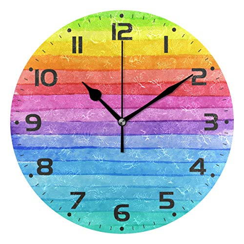 Naanle Colorful Striped Watercolor Bright Color Rainbow Print Round/Square/Diamond Acrylic Wall Clock Oil Painting Home Office School Decorative Creative Dual Use Clock Art