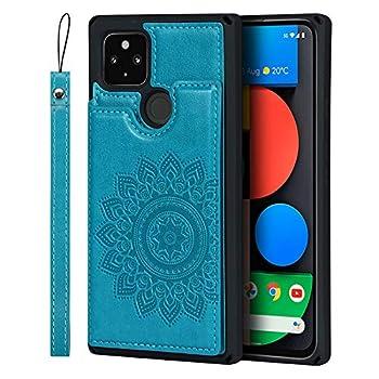 JWS-C Google Pixel 5 Wallet Case with Card Holder Slots Flip case PU Leather Embossed Mandala Flower Cover case for Google Pixel 5 - Blue