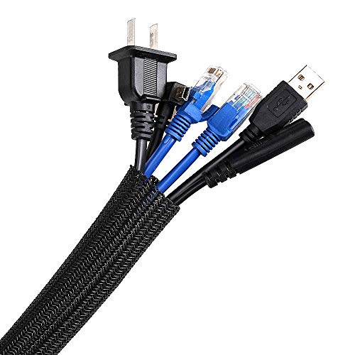 AGPTEK Kabelschlauch, selbstschließender Kabelschutz, gewebter und zuschneidbar Kabelmantel, flexibel 2m, Durchmesser 16-28mm, verstecken im Schreibtisch, TV, Boden, Schwarz