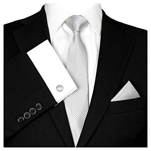 GASSANI Herrenkrawatte Krawattenset Hell-Graue Karo-Muster, Schmale Skinny Slim Hochzeitskrawatte Herrenschlips Einstecktuch Manschettenknöpfe