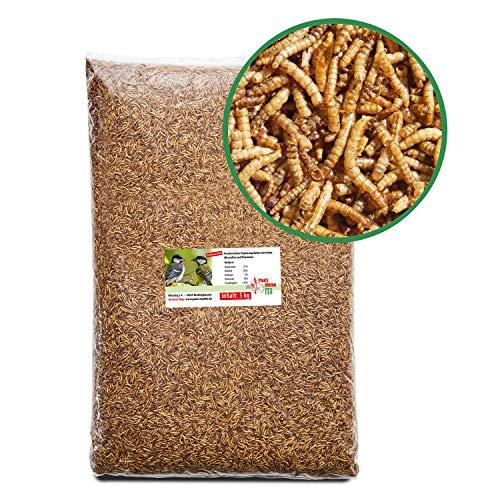 Paul´s Mühle Mehlwürmer getrocknet, Proteinreiche Würmer für Igel, Hamster, Teichfische und Vögel, 5 kg