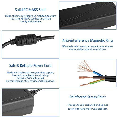 12V 5A Power Supply, Waysse Power Supply Adapter, AC DC Converter 100-220V to 12 Volt 5 Amp Transformer 5.5x2.1mm Plug for LED Strip Light DVR NVR Security Cameras System CCTV Accessories