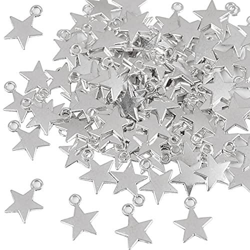 FLOFIA 100pz Ciondoli Stelline Pendenti Stella Piccoli in Lega Mini Ciondoli Stella 13x10mm per Orecchini Collane Bracciali Bigiotteria Creazione Gioielli Argento