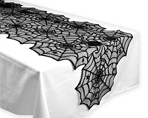 Black Lace Spider Web Halloween Tablecloth Mat