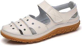 ecd38fbc5cf Z.SUO Sandalias Mujer de Cuero Planas Cómodos Casual Mocasines Loafers Moda Zapatos  Plano Verano