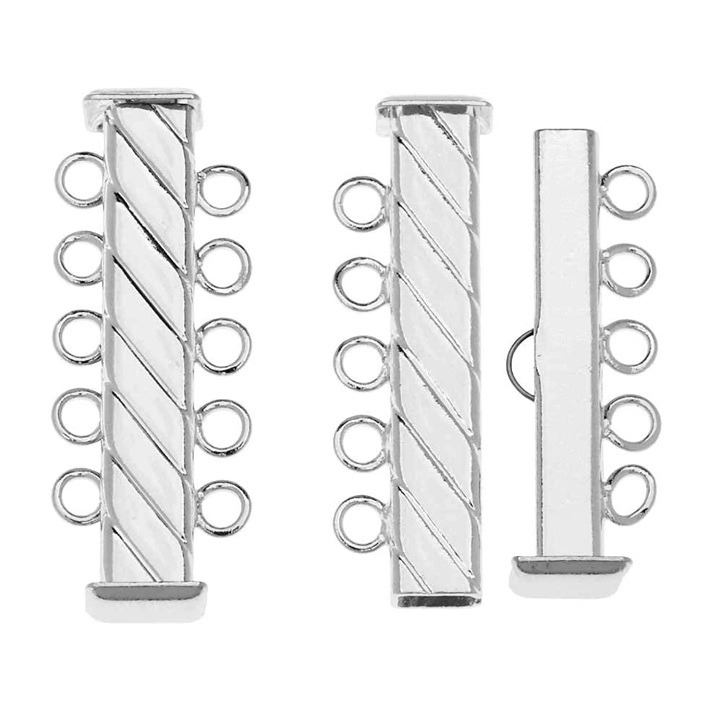 Slide Tube Clasps 5-Strand Fluted Rectangle 31mm Long, 3 Sets, Silver Plated